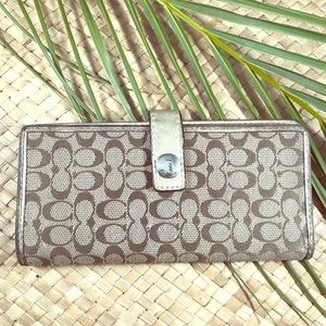 Coach checkbook wallet. Classic logo fabric